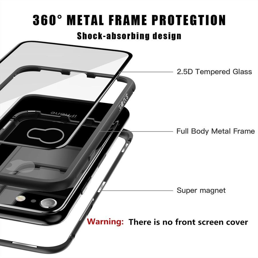 Cover Magnetica Alluminio Custodia per Apple iPhone 7/7 PLUS Vetro Temperato 9H