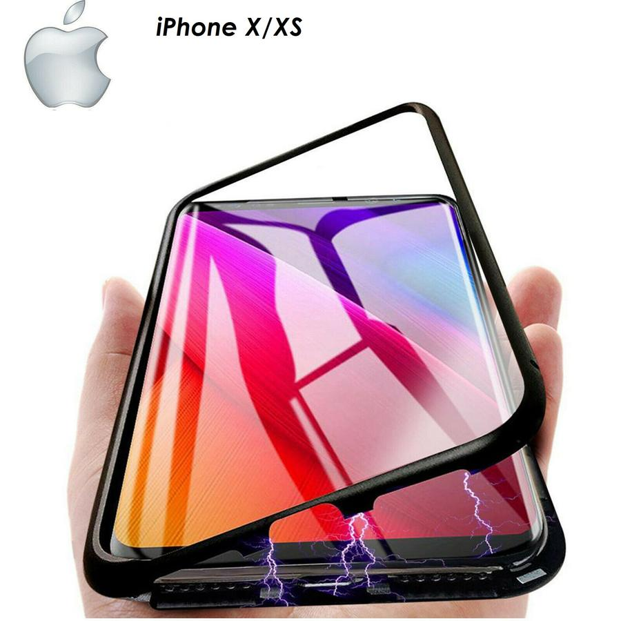Cover Magnetica Alluminio Custodia per Apple iPhone X/XS Vetro Temperato 9H
