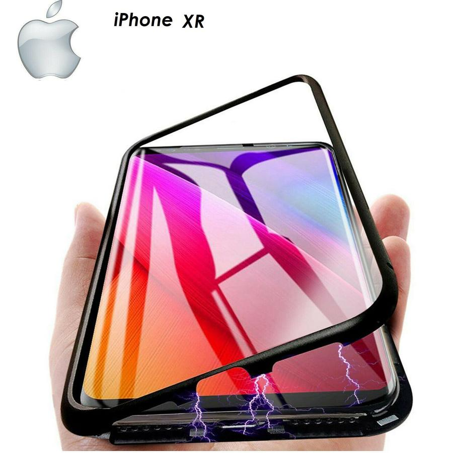 Cover Magnetica Alluminio Custodia per Apple iPhone XR Vetro Temperato 9H