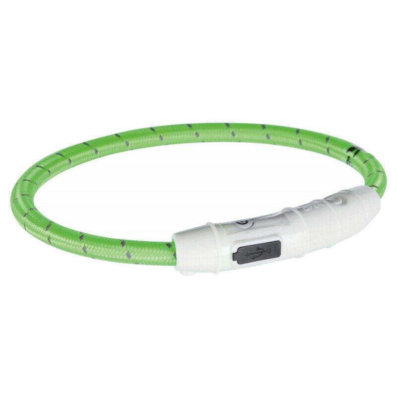 Trixie Anello Flash Usb Collare Per Cani Luminoso a Led Verde S 35 cm Regolabile