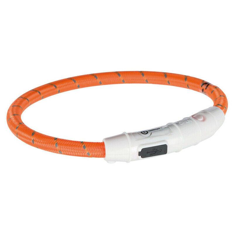 Trixie Anello Flash Usb Collare Per Cani Luminoso a Led Arancione M 45 cm Regolabile