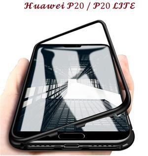 COVER CUSTODIA MAGNETICA ALLUMINIO VETRO TEMPERATO HUAWEI P20 / P20 LITE