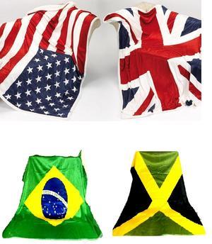 COPERTA PLAID IN PILE COPRIDIVANO BANDIERA JAMAICA STATI UNITI BRASILE INGHILTERRA IDEA REGALO