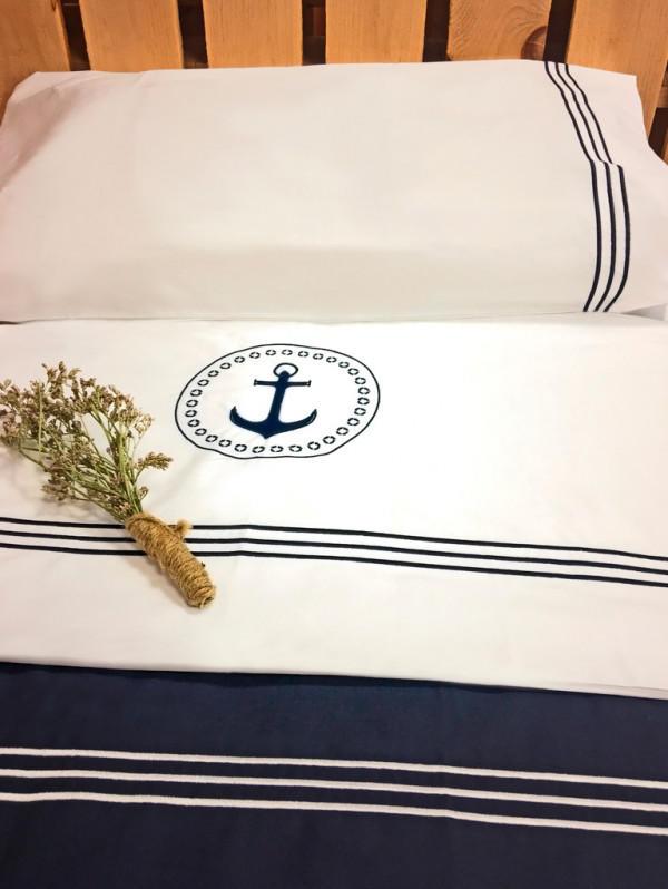 Lenzuolo e Federa Singolo BLU collezione Santorini di Marine Business