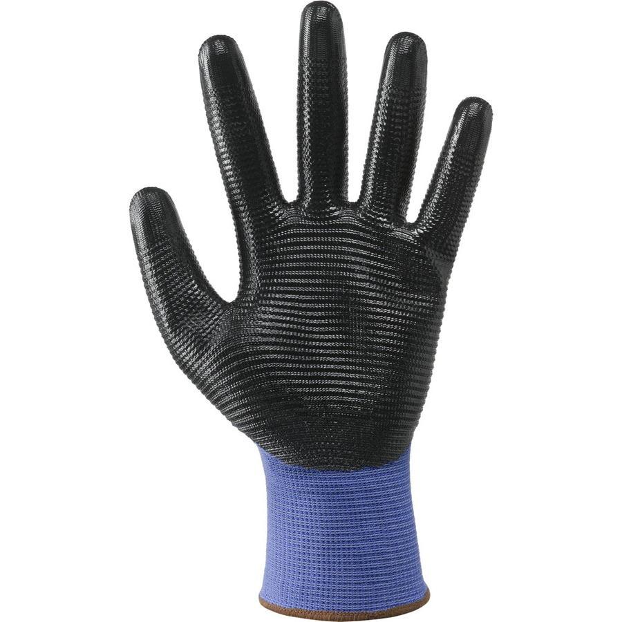 Guanto a filo continuo calibro 13 in poliestere / nitrile col. blu e neri