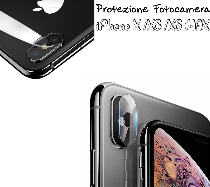 PELLICOLA VETRO TEMPERATO FOTOCAMERA POSTERIORE PER IPHONE X/XS/XS MAX PROTEZIONE FOTOCAMERA