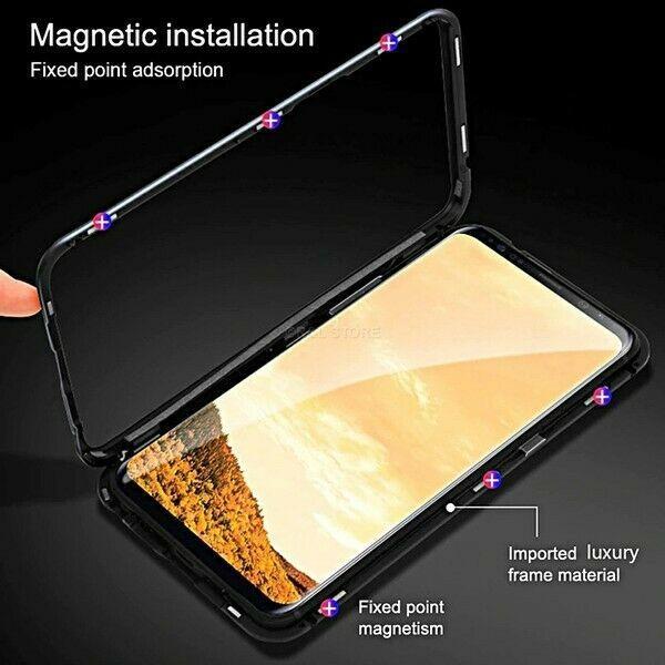 Cover Magnetica Alluminio Custodia per HUAWEI MATE 20 PRO Vetro Temperato 9H