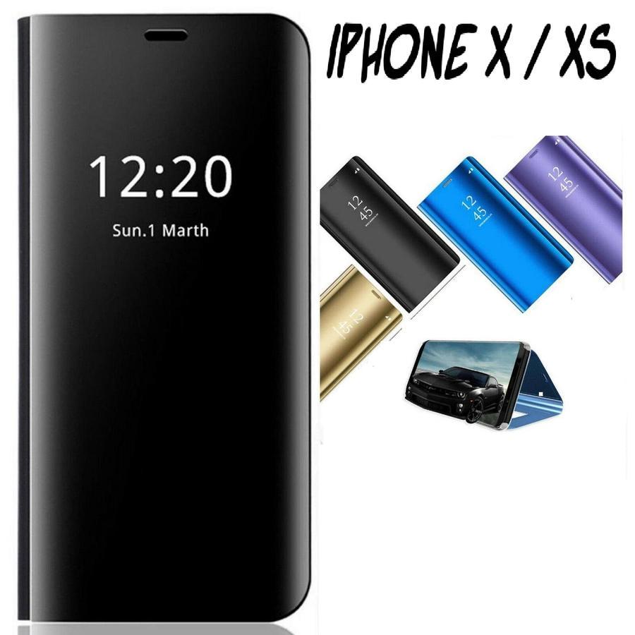 COVER PER IPHONE X/XS FLIP CASE MIRROR VARI COLORI PROTEZIONE