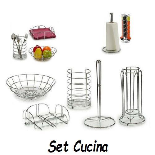 Set Cucina 5 Pezzi Porta Rotolo, Porta Capsule, Posate, Frutta, Tovaglioli