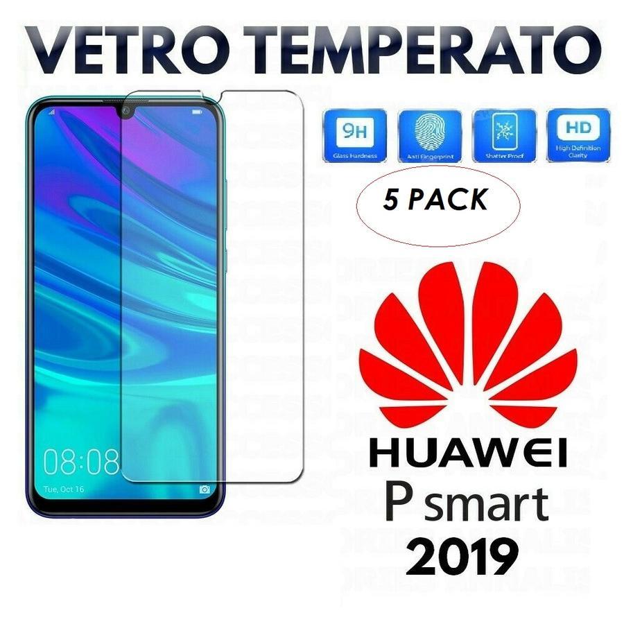 5 PACK PELLICOLA IN VETRO TEMPERATO per HUAWEI P SMART 2019 Protezione Display