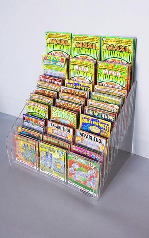 Espositore contenitore schede porta Gratta e Vinci da banco 30 posti 10+10+10