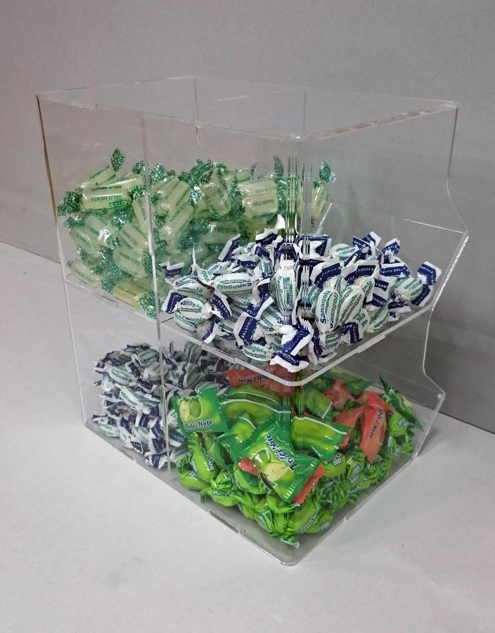 Contenitore porta caramelle sfuse in plexiglass 4 spazi a cubo
