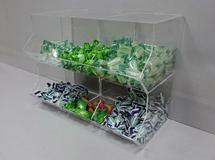 Contenitore porta caramelle sfuse in plexiglass 6 spazi a cubo orizzontale
