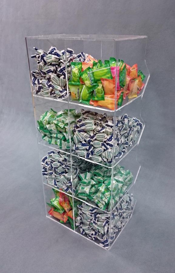 Contenitore porta caramelle sfuse in plexiglass 8 spazi a cubo verticale