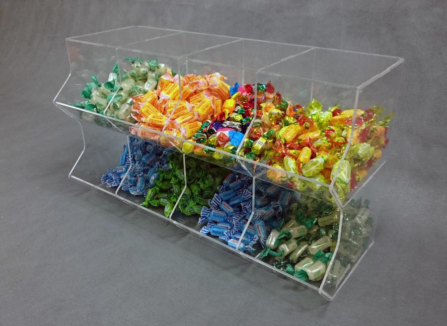Contenitore porta caramelle sfuse in plexiglass 8 spazi a cubo orizzontale
