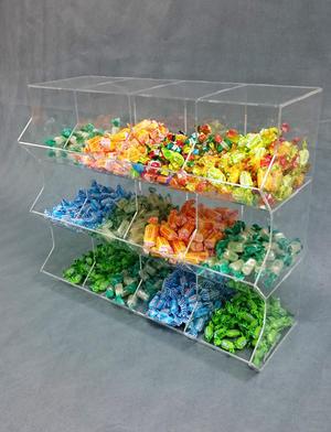 Contenitore porta caramelle sfuse in plexiglass 12 spazi a cubo orizzontale