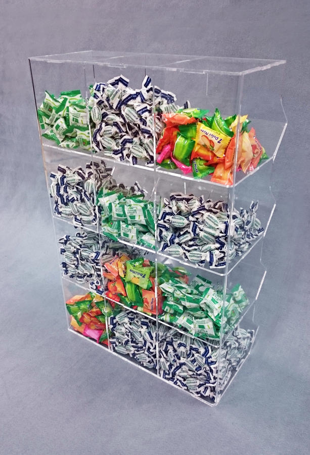 Contenitore porta caramelle sfuse in plexiglass 12 spazi a cubo verticale