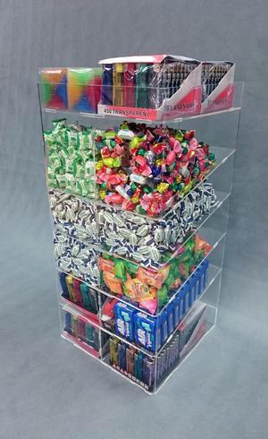 Espositore in plexiglass a torretta per caramelle, pacchetti e dolciumi, 6 piani