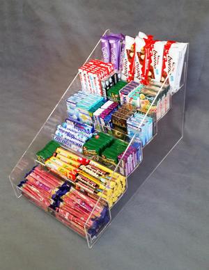 Espositore contenitore in plexiglass a scaletta per caramelle, gomme, accendini, 6 piani