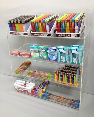 Espositore contenitore da banco a 4 piani per caramelle, dolciumi, snack, accendini, gomme, pacchetti