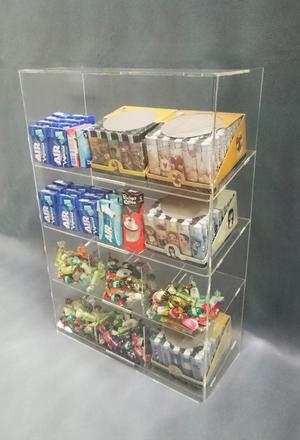 Espositore da banco e da parete a 4 piani per caramelle, snack, accendini, gomme, cioccolate
