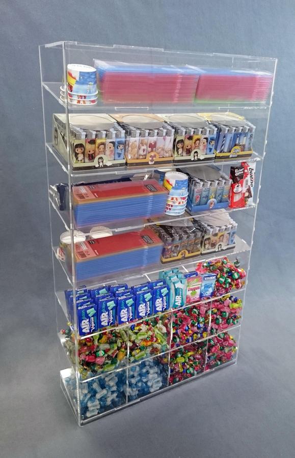 Espositore da banco e da parete a 7 piani per caramelle, snack, altro