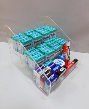 Espositore contenitore in plexiglass a scaletta porta caramelle, gomme, accendini, 3 piani