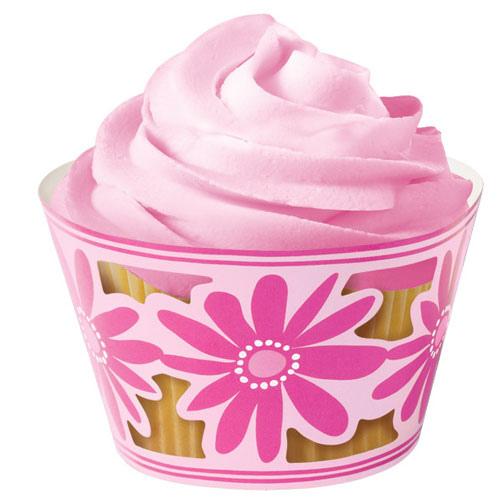 set 18 coprimuffin fiori rosa party Wilton