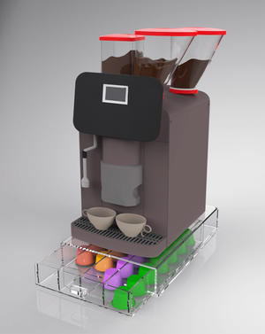 Contenitore cassetto porta capsule da caffè 4 scomparti in plexiglass trasparente