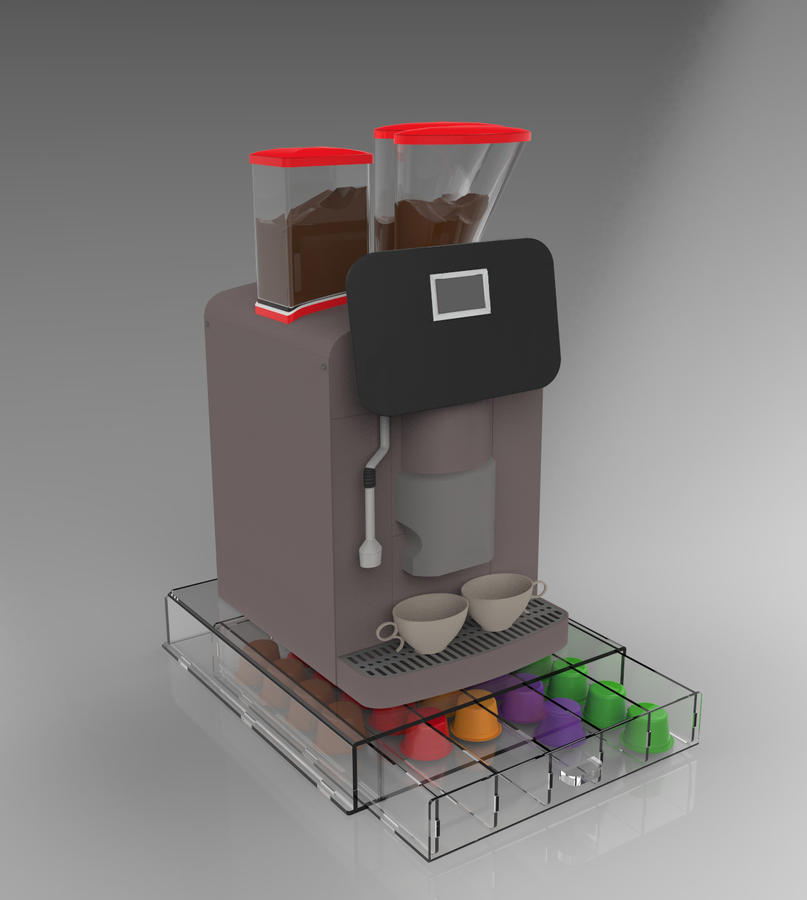 Contenitore cassetto porta capsule da caffè 5 scomparti in plexiglass trasparente