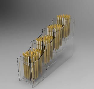 Espositore da banco porta penne, biro, 4 scomparti (unica fila)