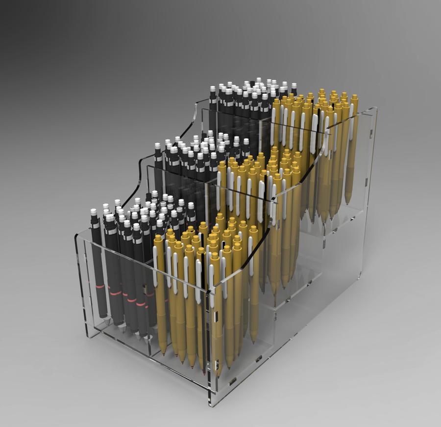 Espositore da banco porta penne, biro, 6 scomparti