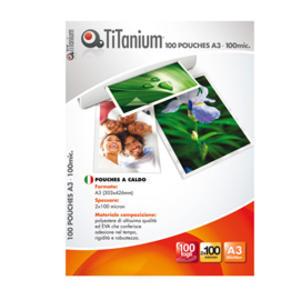 100 POUCHES 303x426mm (A3) 100 micron TiTanium