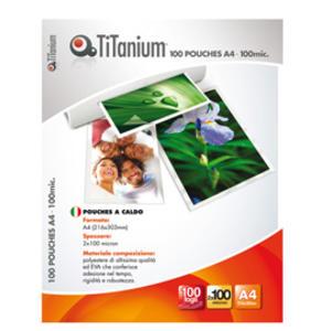 100 POUCHES 216x303mm (A4) 100 micron TiTanium