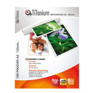 100 POUCHES 154x216mm (A5) 125 micron TiTanium