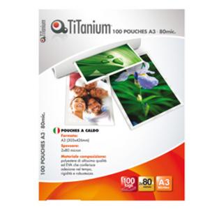 100 POUCHES 303x426mm (A3) 80 micron TiTanium