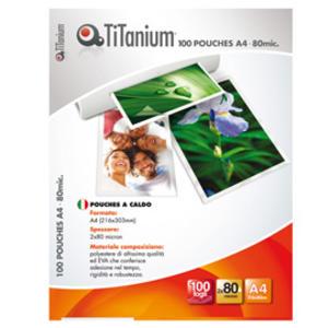 100 POUCHES 216x303mm (A4) 80 micron TiTanium