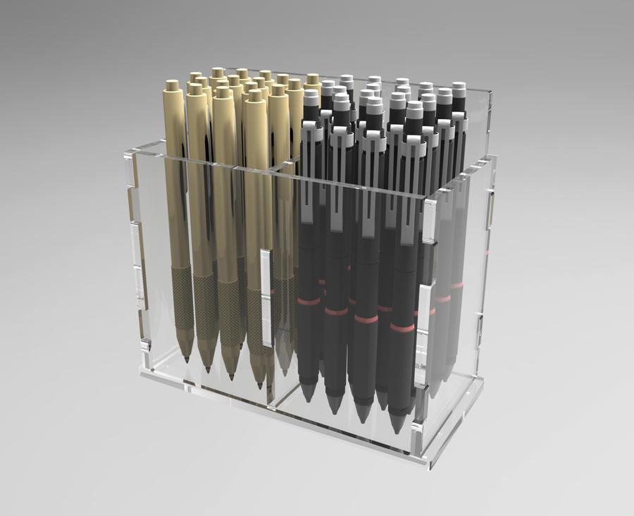 Porta penne in plexiglass da parete, 2 scomparti