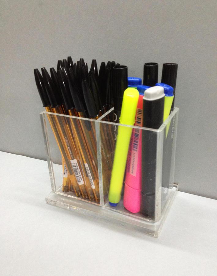 Porta penne in plexiglass, 2 scomparti