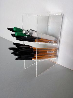 Contenitore porta penne in plexiglass, 2 scomparti