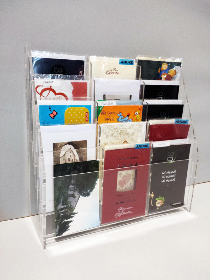 Espositore porta cartoline 15 tasche da banco