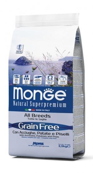 Grain Free All Breeds Acciughe, Patate & Piselli Monge