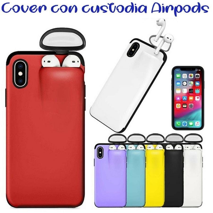 COVER CUSTODIA PROTETTIVA PER IPHONE 8 + CUSTODIA E RICARICA AURICOLARI AIRPODS