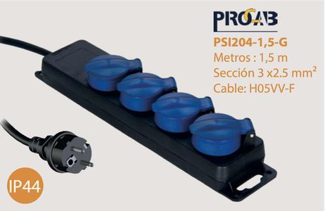 Ciabatta rete 220V 4 prese SHUKO - 3G2.5 - H07RN-F - IP44 - 1.5mt