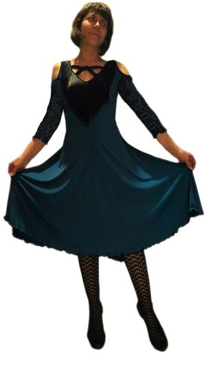 DANCE DRESS WITH FRINGED NECK AND LACE SLEEVES AND BACK 4-0032 FRINGES