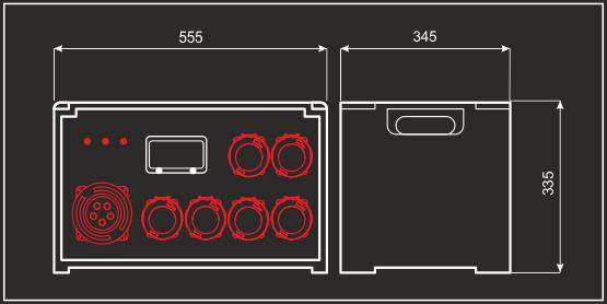 Quadro Elettrico 125A Trifase impilabile portatile in cassa chiusa 1/18F