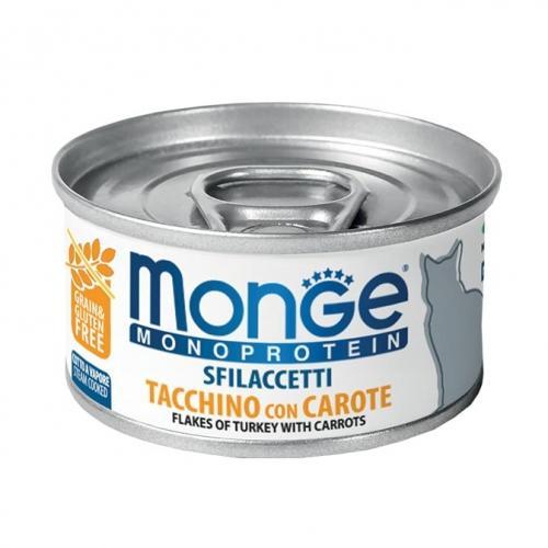 Gatto - Sfilaccetti Monoprotein Tacchino & Carote Monge 80 gr