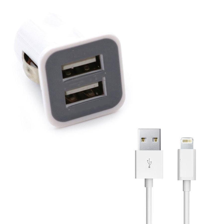 KIT ADATTATORE CARICABATTERIA DA AUTO PER IPHONE IOS 2 PORTE USB