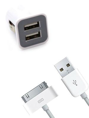KIT ADATTATORE CARICABATTERIA DA AUTO PER IPHONE 4 CON 2 PORTE USB