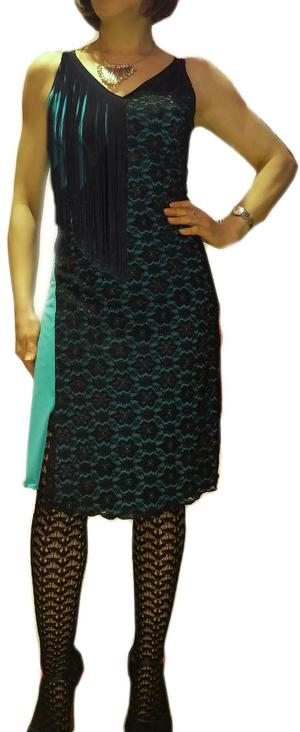 Copia di DRESS AND TANGO DANCE MINT GREEN WITH BLACK LACE 4-0033
